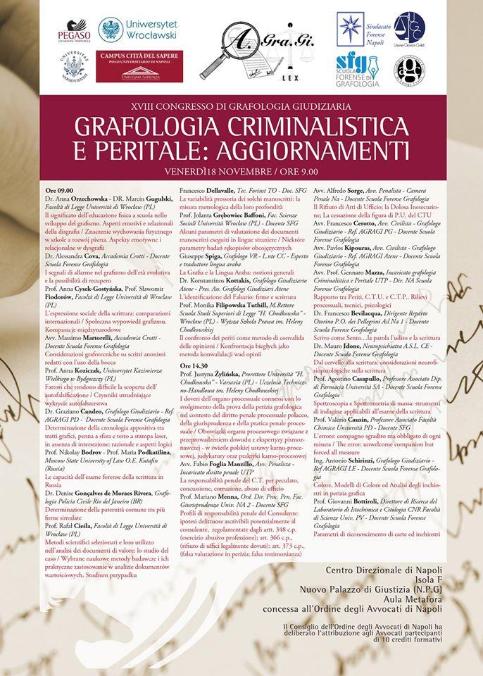venerdi-18-novembre-2016XVIII Congresso di Grafologia Giudiziaria